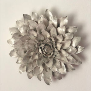 Ceramic Grey Dahlia Wall Flower